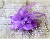 """Large Lilac Fabric Flowers with Tulle, Feathers, Pearl Sprays, and Lace approx. 7.50"""" Including Tulle (Flower Alone Is 5"""") FL-136"""