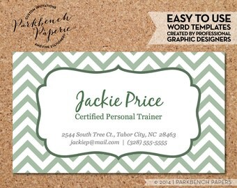 Business Card Template - Sage Chevron &  Frame -  DIY Editable Word Template, Instant Download, Printable