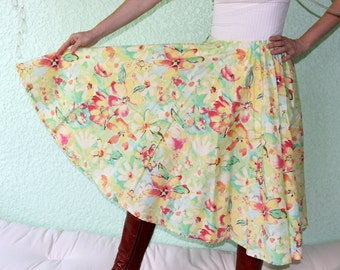 Vintage Tablecloth Circle Long Skirt - WATERCOLOR FLOWERS Vivid MONET Like Special