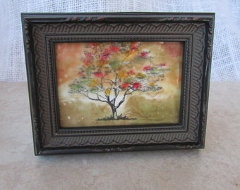 Mixed Media Encaustic Waxed Tree Image in Ornate Black Frame. Fall Colors.  Hand stamped, Colored, and Finished with Encaustic Medium.
