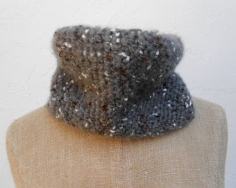 Grey Tweed Soft Neckwarmer/cowl with Flecks of White and Brown