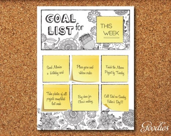 Post It Note Goal List - Printable & Re-useable