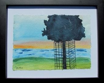 Original Framed Watercolour Painting - Sunset