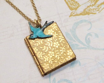 Book locket etsy book locket brass book locket floral locket blue bird locket bluebird locket petite locket bird necklace aloadofball Gallery