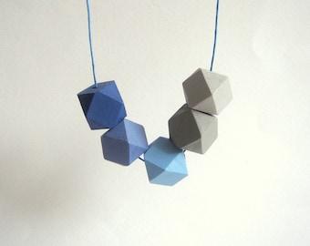Geometric Necklace ,Handpainted Wood Geometric Necklace,Geometric Jewelry
