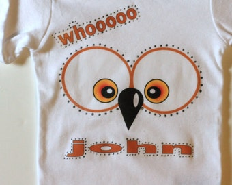 Whoot Owl Personalized Baby Boys Onesie, Bodysuit , Cotton Onesie, Crawler, Creeper, T shirt