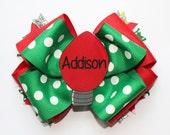 Stacked Christmas bow, Christmas hair bow