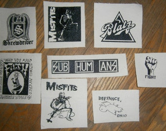 Lot of 8 punk patches. (filth misfits defiance oh blatz)