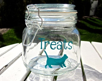 Personalized Cat Treat Jar- Great Gift for Cat Lovers