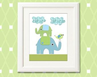 Blue and green elephant Nursery Art Print, 8x10, nursery wall art, Kids Room Decor, green, blue, stacked elephants, bird