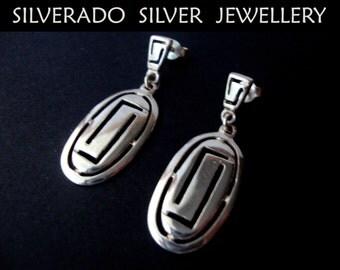 Sales 2018, -30%, Greek Earrings, Meander Earrings, Greek Oval Earrings, Dangle Earrings, Greek Silver Earrings, Greek Jewelry