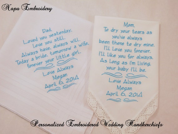 Wedding Gift For Mom And Dad : WEDDING GIFTS for Mom and Dad Embroidered Handkerchiefs Personalized 2 ...