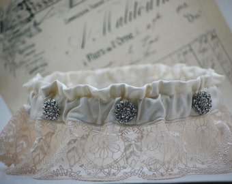 One of a Kind Beverly Hills Silk Couture Garter with Vintage Rhinestone Detail