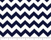Small Navy Blue and White Chevron Fabric by Choice Fabrics, 3/8 inch stripe- 1 yard