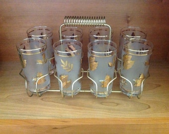 SALE!  Golden Foliage Glassware Set With Caddy. By Libbey. Set of Eight.
