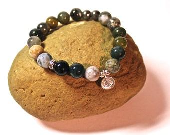 Yoga Bracelet - Zen Charm, charm bracelet - meditation bracelet, blue and green Beaded Bracelet, Boho Spiritual Jewelry, Zen Jewelry