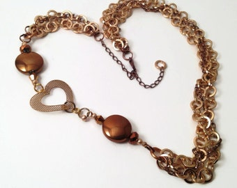 Gold Chain Heart Necklace // Steampunk Glam // Adjustable Necklace