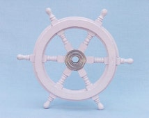 """Wood and Chrome Ship Wheels 12"""" in White, Blue, Navy or Red / The Ships Wheel / boat steering wheel for a boat / Nautical Wall Decor"""