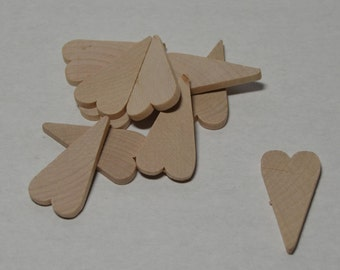 "1 1/2"" Primitive Wood Hearts - 10 - Unfinished Wood - Primitive Wooden Hearts"