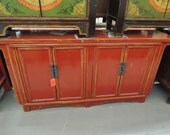 RESERVE-JR-Antique Chinese Storage Cabinet or Console in Distressed Red (Los Angeles)