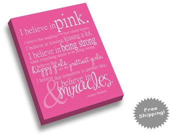 Breast Cancer Canvas Print - I Believe in Pink - I Believe in Miracles - YOUR OWN COLORS