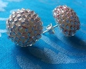 Clear Glass Seed Bead Stud Earrings