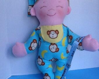 "Easy Cloth Rag Doll PDF Pattern Baby Brother 15"" Rag Doll Pattern- Easy Beginner PDF Sewing Patterns by Peekaboo Porch"