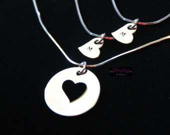 Mother Daughter Necklace Set-Daughter Initials- Stainless Steel or Sterling Silver heart necklaces- Mother Daughter Jewelry