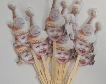 Dot birthday hat photo cupcake toppers 1.