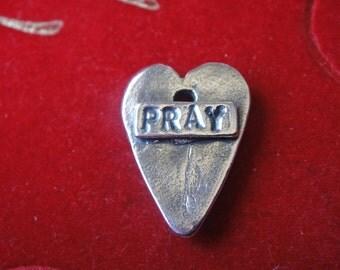 925 sterling silver oxidized heart pray,silver heart, praying heart, wisdome words heart, pray