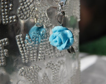 Small blue rose earrings with silver piece