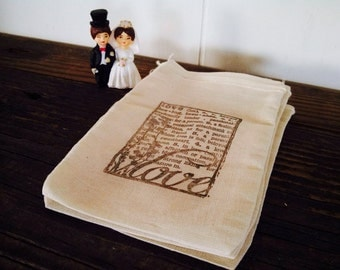 Wedding Favor Muslin Bag Thank You Favor Bag Hand Stamped Set of 12 Rustic Country Theme