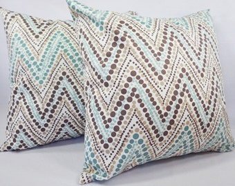 Two Blue Chevron Pillow Covers - Blue and Brown Throw Pillows - Blue Pillow Cover - Blue Couch Pillow - Decorative Pillow Covers