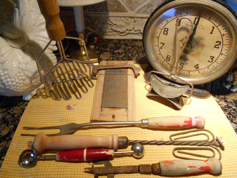 Antique Kitchen Tools ~ Sale vintage kitchen tools antique cooking utensils wooden