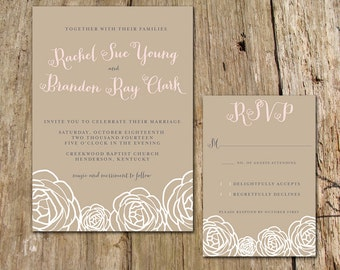 Garden Party Flower Sketch Wedding Invitation - Customize with your colors, shown in green, pink, blue and harvest