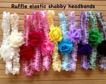 Shabby chic flower headbands on double ruffle elastic / photo prop, newborn headband, toddler headband, child headband, gift