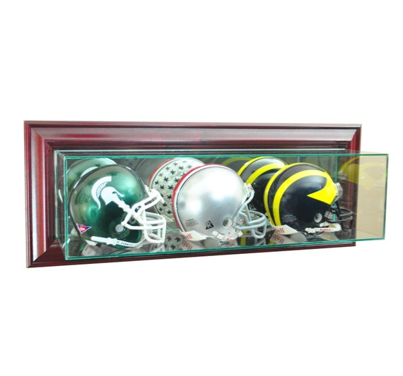 Wall Mounted Triple Mini Helmet Display Case Uv New Ncaa Nfl