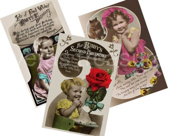 Vintage Style Birthday Postcards for ages one, two and three. Digital Images for card making or Crafts (pack 4)
