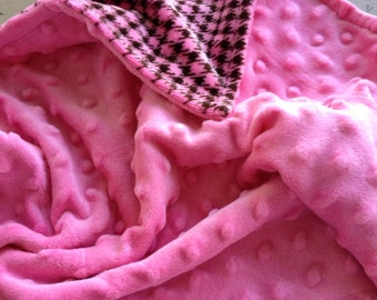 Clearance, i took 8.00 off this Lovey blanket with pink and brown houndstooth and  pink minky dot