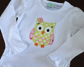 Owl applique ruffle shirt