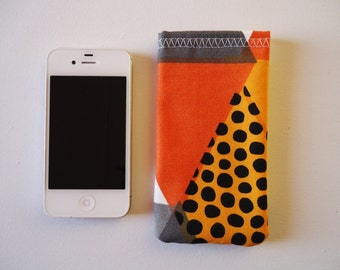Abstract phone sleeve for iPhone 5 and 5S, orange, grey and yellow phone cover