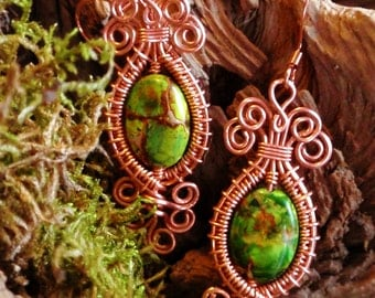 Green sea sediment Jasper copper earrings. wire wrapped earrings. wire wrapped jewelry handmade