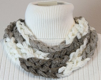 Chain Stitch Skinny Scarf in Taupe and White