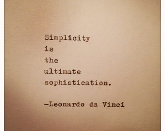 Leonardo da Vinci Quote Typed on Typewriter