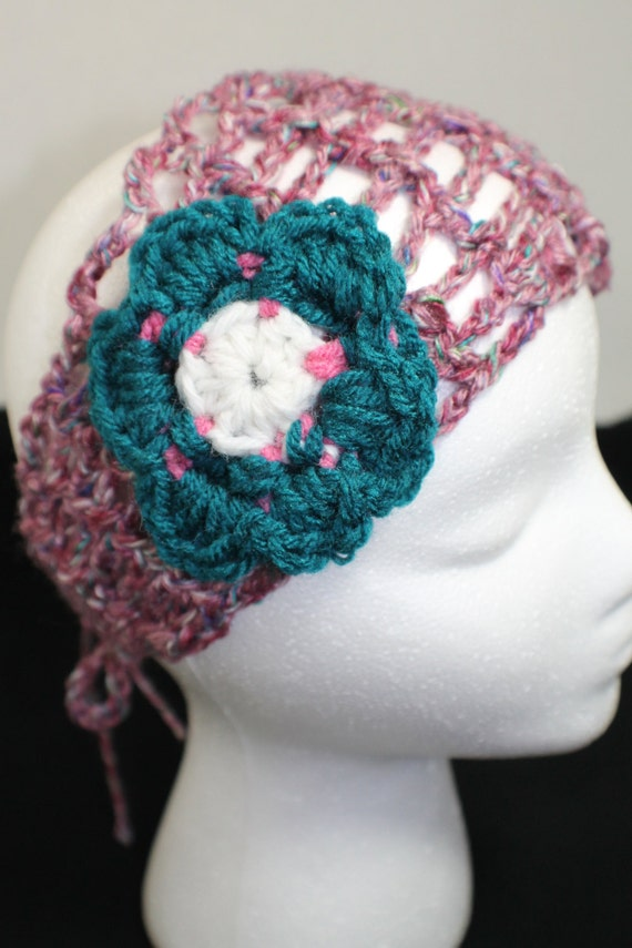 Crochet Flower Earwarmer - crochet headband - Lattice pattern headwrap ...