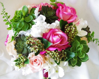 Wedding Succulents and Roses Bouquet -Fuchsia Roses and Hydrangeas Natural Touch Silk Flower Bride Bouquet
