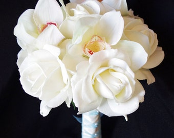 Silk Wedding Bouquet with Off White Roses and Orchids - Natural Touch Silk Flower Bride Bouquet - Almost Fresh