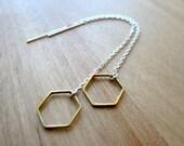 Hexagon Earrings, Thread Earrings, Long Earrings, Sterling Silver Earrings, Threader, Honeycomb Earrings, Geometic