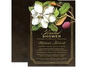 Elegant Vintage Southern Magnolia Bridal Shower Invitations - DIY Printable or Printed Invitations