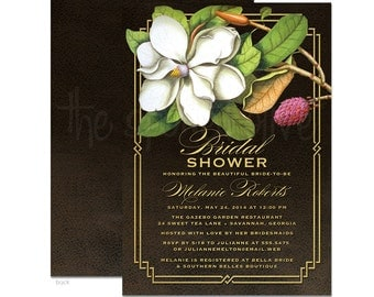 Vintage Southern Magnolia Bridal Shower Invitations - DIY Printable or Printed Invitations
